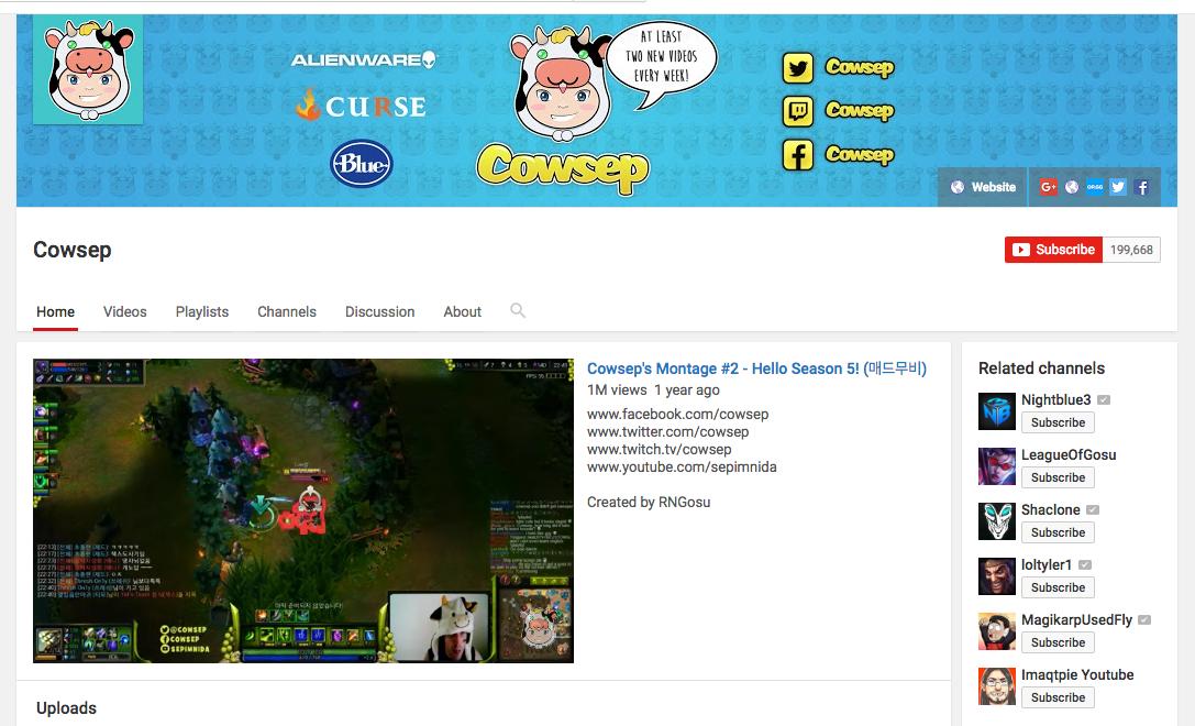 cowsep-youtube-gamer