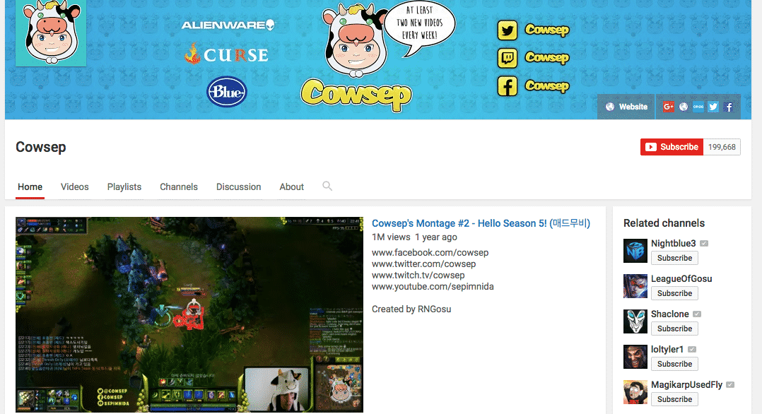 cowsep-youtube-gamer