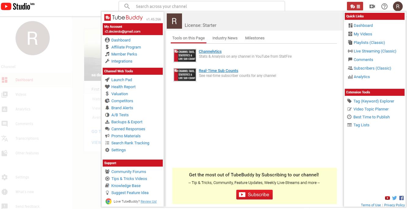 tubebuddy youtube stats