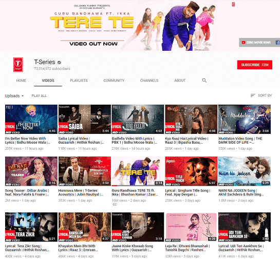 most viewed youtube channel t-series posting schedule